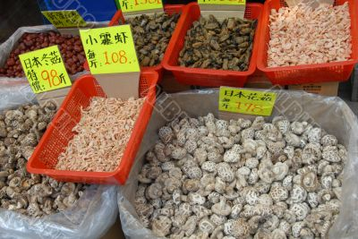 Dried mushrooms and seafood