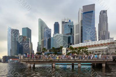 Merlion and Singapore skycrapers