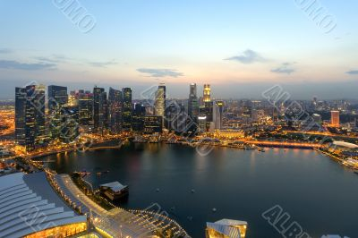Singapore skycrapers and Marina Bay