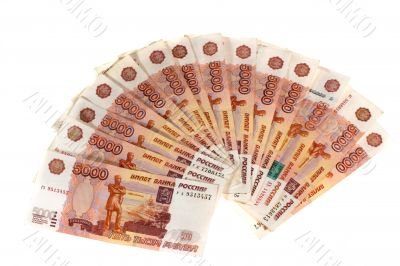 Many Russian banknotes.