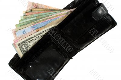 Many banknotes of different countries in the wallet.