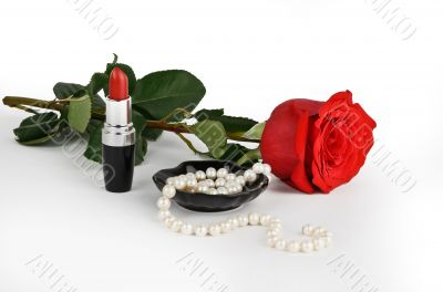 Rose, pearls and lipstick
