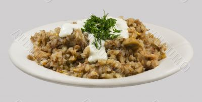 Buckwheat porridge with sour cream and dill