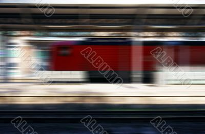 Train in the railway station abstract