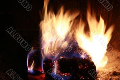 burning fire fireplace night