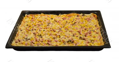 Large pizza on a baking sheet