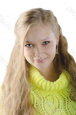 Beautiful girl in the yellow jersey
