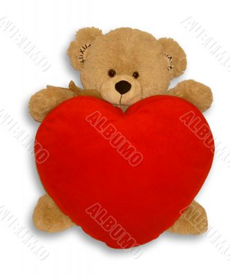 Soft toy bear and heart
