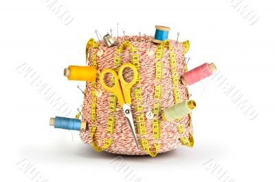 Large spool of thread, scissors, needle and thimble