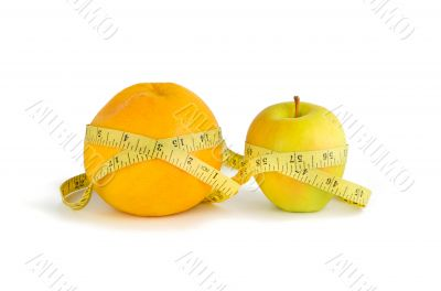 Measurement of orange and apple