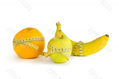 Measurement of orange, apple and banana