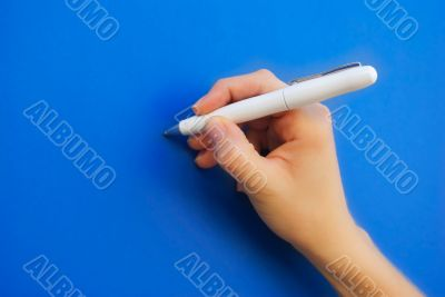 Hand writing with a pen