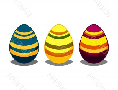easter eggs with stripes art