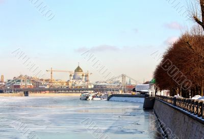 Embankment of the Moscow River in winter