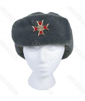 Wearing Fur Cap with Cross Emblem