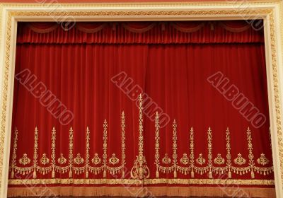 Theatrical red curtain
