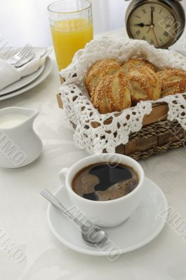 Morning cup of coffee with cakes