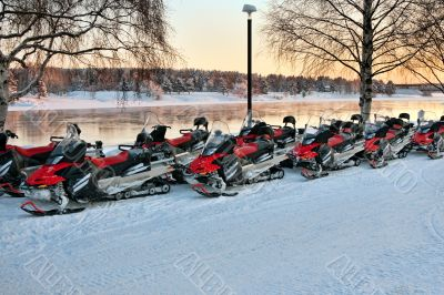 Vehicles are a number of snowmobiles