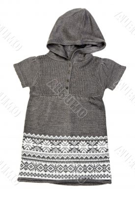 gray knit dress with a hood
