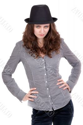 girl in a plaid shirt and black hat