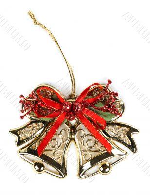 Christmas ornament, golden bells