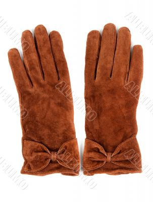 A pair of brown leather gloves
