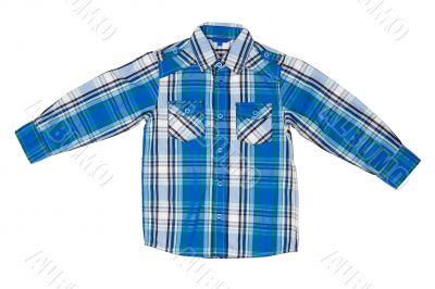 he blue checkered shirt