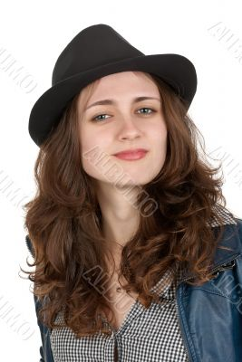 The beautiful girl in a black hat