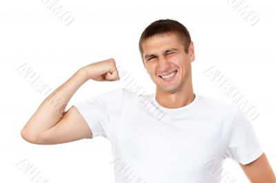Lean muscle man shows his hand