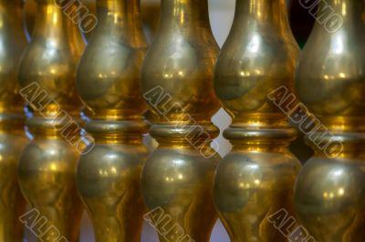 gilded pillars in the church