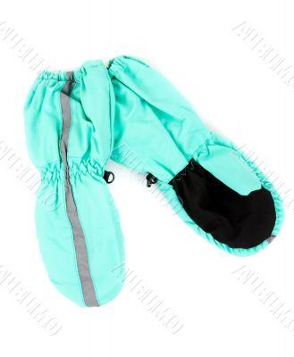 A pair of blue children`s gloves