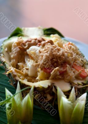 Thai rice dish at a restaurant in a pineapple