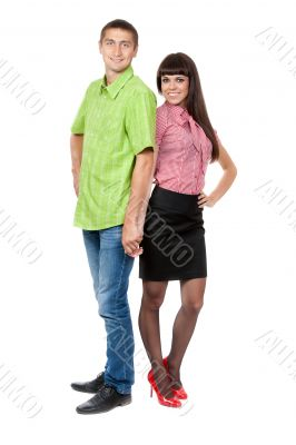 Full-length portrait of a pair of colored clothes isolated on wh