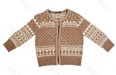 Brown knitted sweater with a pattern