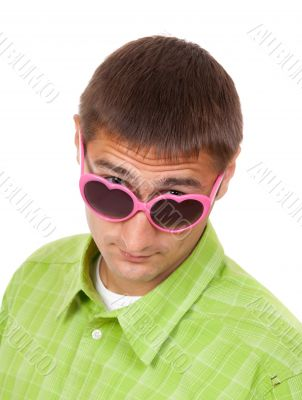 Portrait of a Man in pink sunglasses funny