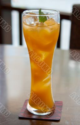 cocktail, mango juice with ice cubes