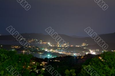 night view from the viewpoint of Phuket