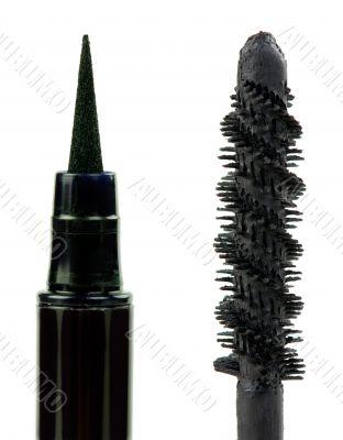 mascara and eye pencil