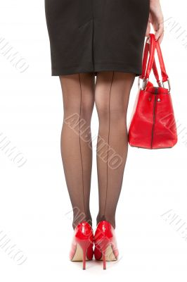 eautiful female long legs on high heels over white