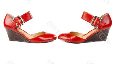 Fashionable women`s red shoes