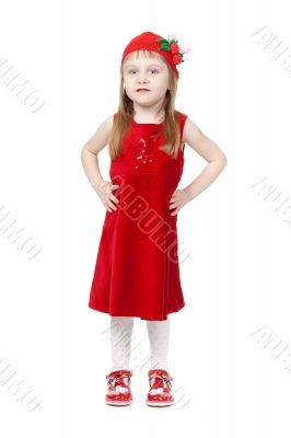 Charming little girl in red cap and gown in full growth