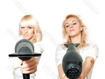 Blonde girl with hair dryer