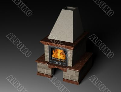 3d illustration of a fireplace