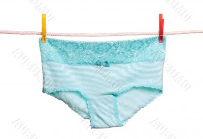 Striped briefs hanging on a clothesline