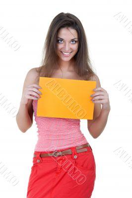 Beautiful woman holding empty orange board
