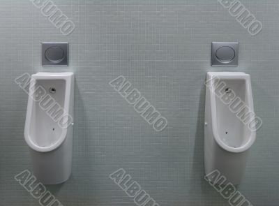 urinals with two white painted a fly on the toilet