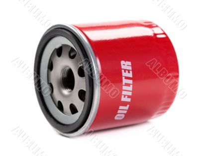 New oil filter car in red steel case