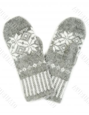 Grey knitted gloves isolated on white background