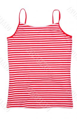Front view of red stripped shirt