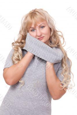 Pretty blond winter sweater woman